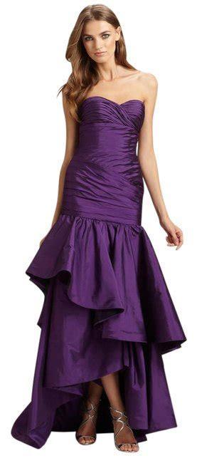 Monique Lhuillier Purple Strapless High Low Taffeta