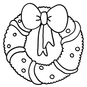 Christmas Wreath with Bow coloring page   Free Printable Coloring ...   300x300