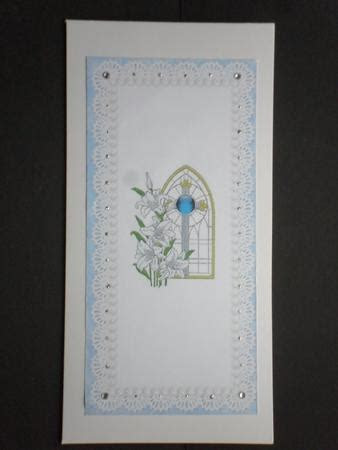 Triple Fold Lily Church Window Blue Christening Invitation