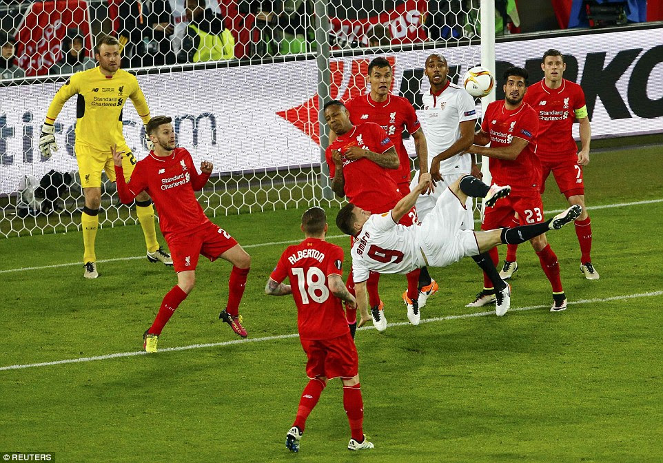 Gameiro (fourth left) missed a chance to give Sevilla the lead after his dramatic overhead kick went narrowly wide