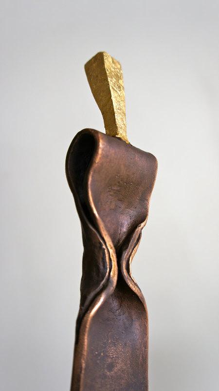"""Humain"" bronze et or ht. 62cm"