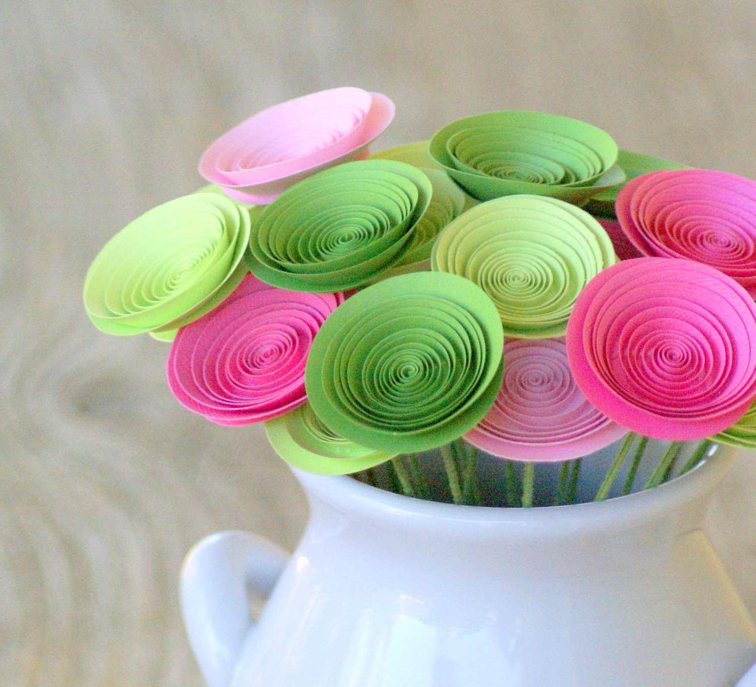 Mother's Day Flowers -- Pink and Green Paper Flower Centerpiece -- 24 Handmade Flowers -- Spring Bouquet -- Spring Centerpiece