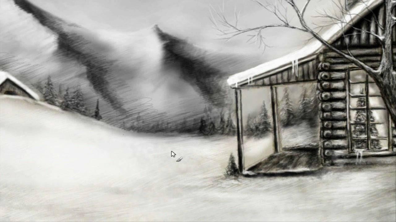 Winter Landscape Pencil Drawings