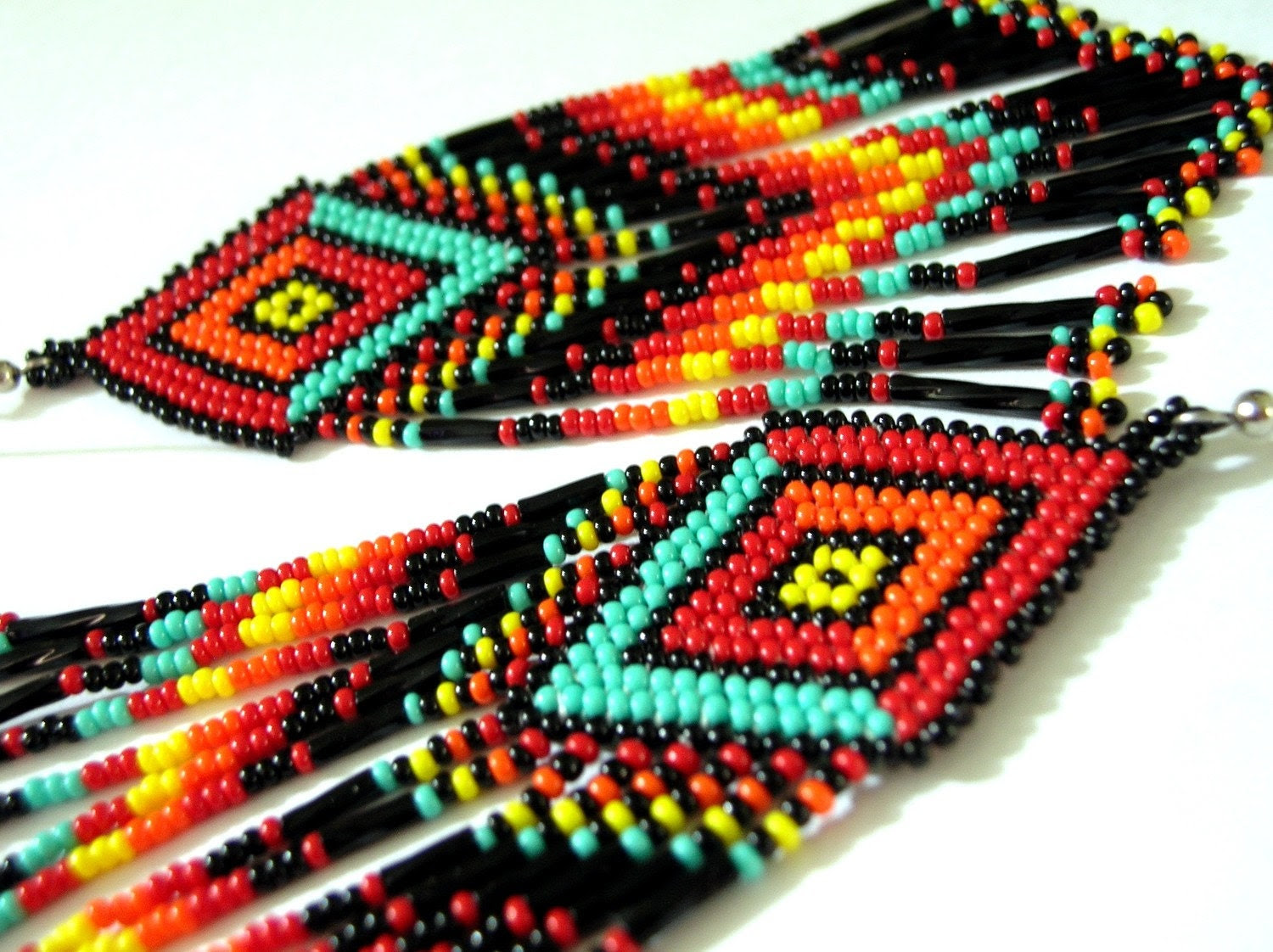 Indian Style Rainbow Multi Color Fringed/tassle Brick Stich Seed Beaded Long Earrings - fantasybeader
