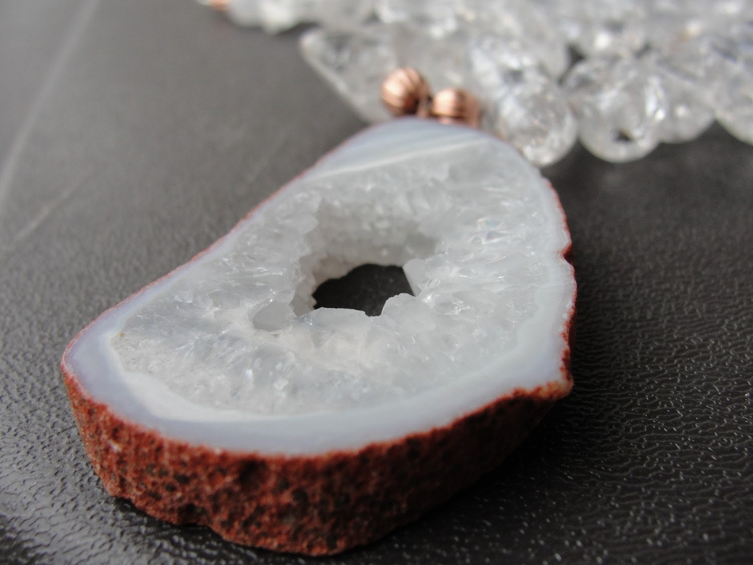 Summer White Rock Crystal Geode Necklace REDUCED