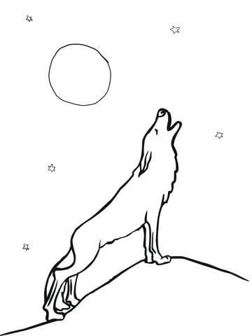 Dibujo De Lobo Aullando A La Luna Para Colorear Dibujos Para