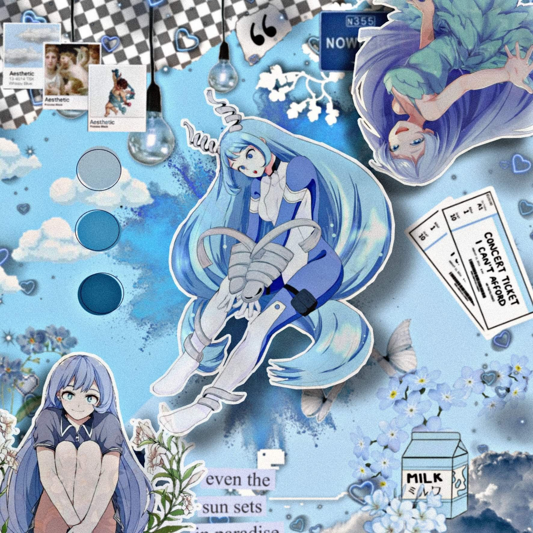 blue anime aesthetic mha