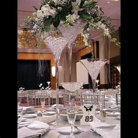 Vase martini mariage 70cm   centre de table original