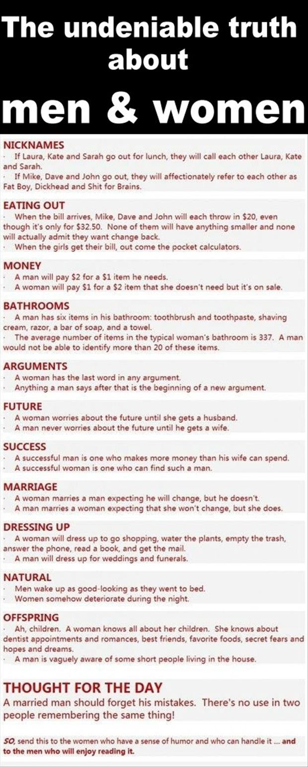 Truth About Men And Women Funny Quotes Dump A Day