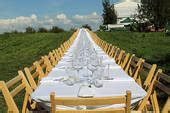 Pictures of Outdoor Table Set For a Dinner Party x18935938