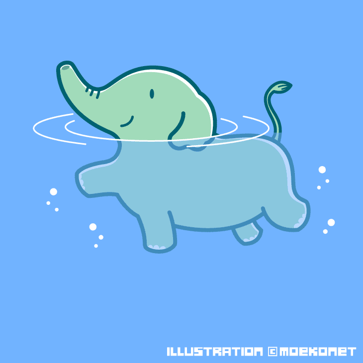 動物イラストno132海を泳ぐゾウ イラスト制作moekonet