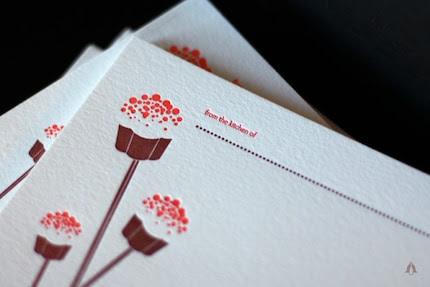 Cupcake Pop Recipe Cards, Letterpress set of 15