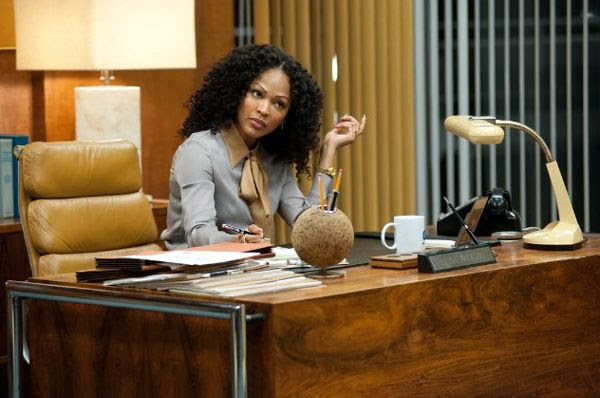 Linda Jackson (Meagan Good) is Ron Burgundy's fiery new boss at the GNN TV station, in ANCHORMAN 2: THE LEGEND CONTINUES.