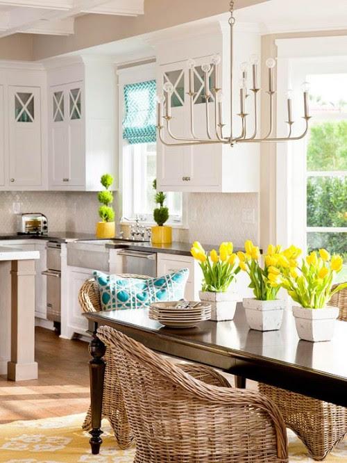 white yellow teal kitchen