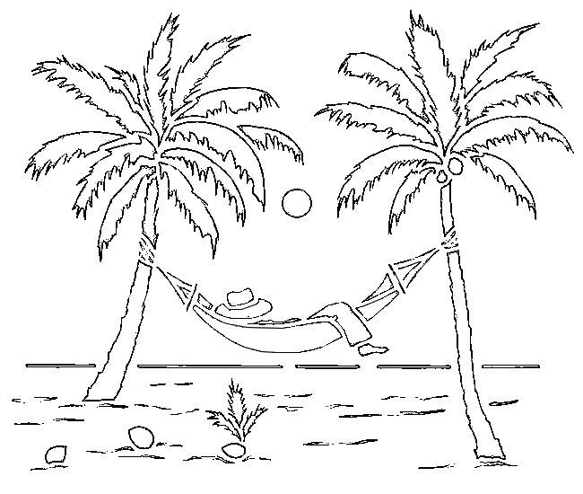 Dibujo Para Colorear Playa Palmeras 2