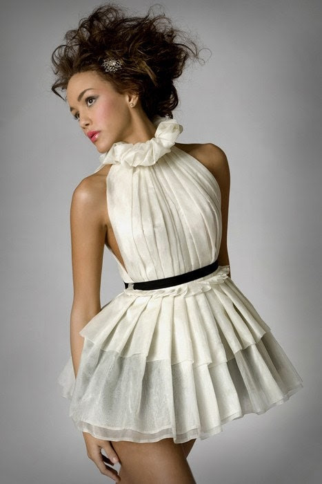Silk Organza Pleated French Maiden Dress