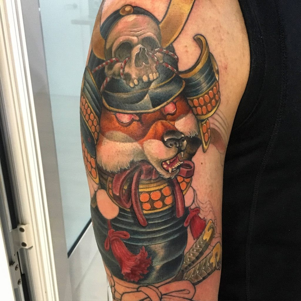 Second Session Of My First Tattoo Samurai Kitsune Arm Toad