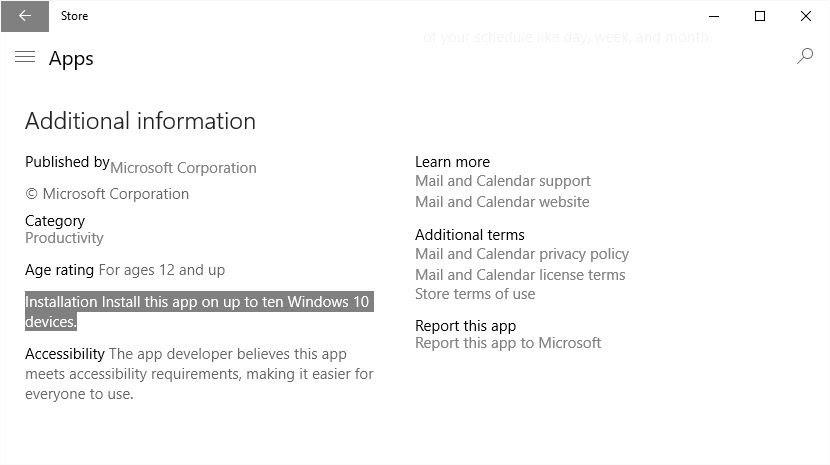 Windows app limit