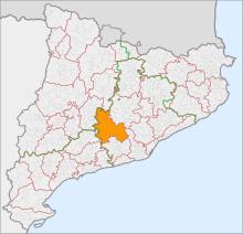 Localització de l'Anoia respecte Catalunya