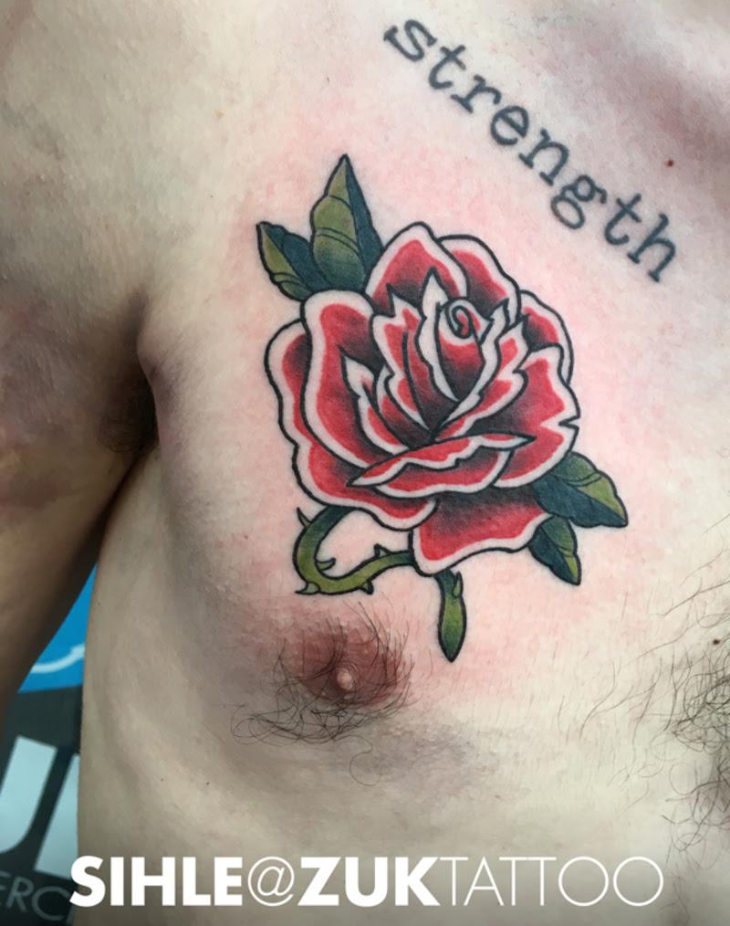 Tatuaje Old School Con Una Rosa