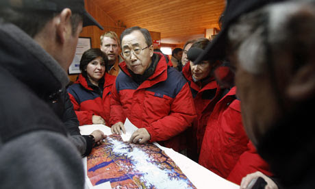 UN Secretary General Ban Ki-Moon, on a fact-finding mission for climate change
