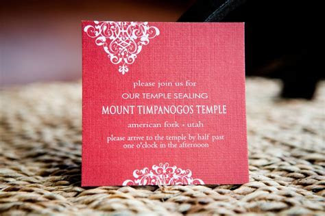 Temple Wedding Invitation Wording   Erica 3x3 Insert for