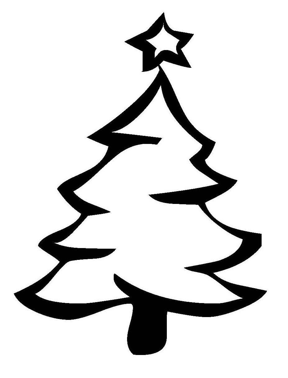 Ausmalbild Weihnachten Weihnachtsbaum mit Sternspitze kostenlos ausdrucken