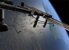 Orbiter View STS-120 EVA Solar Panel Repair