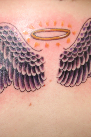 Angel Wings With Halo Tattoo Designs