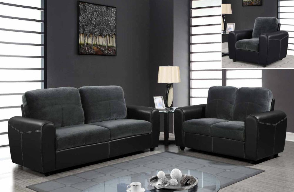 Toned Leather and Microfiber Upholstered Sofa Set Houston ...