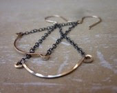 14 Karat Gold Filled, Antiqued and Etched Sterling Silver-Lynx Earrings