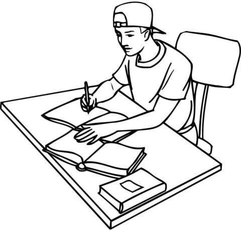 Disegno Di Studente Teenager Sui Libri Da Colorare Disegni Da