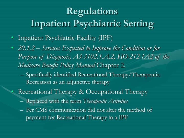 PPT - Coverage of Therapeutic Recreation in Clinical ...