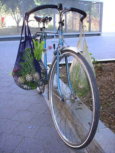 Community Farm Share pickup on a bicycle