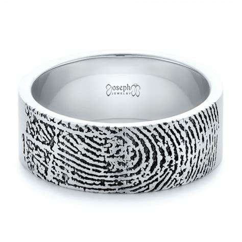 Custom Men's Engraved Fingerprint Wedding Band #102383