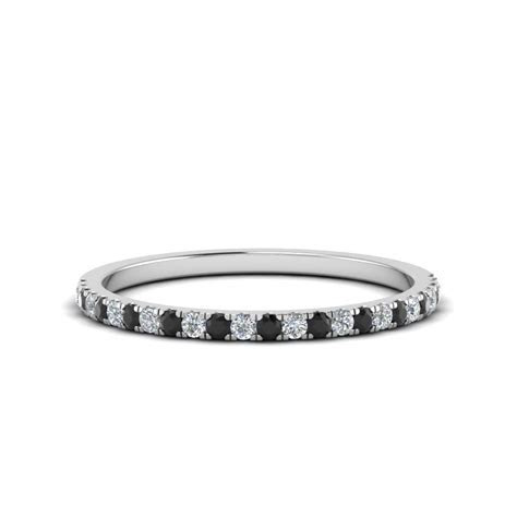 Simple Thin Wedding Band With Black Diamond In 14K White