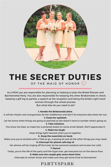 Maid of Honor   secret duties   Christian Wedding Planner