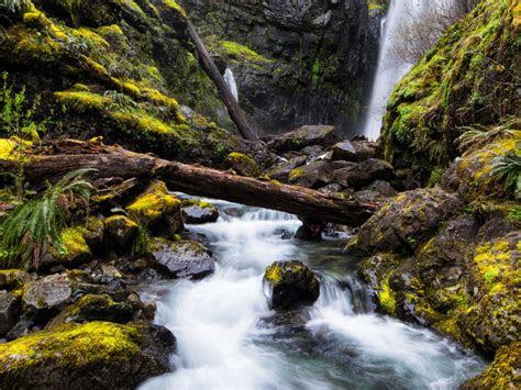 mountain river waterfall black cliffs green moss fallen