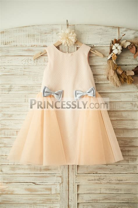 Champagne Polka Dot Tulle Flower Girl Dress with Silver