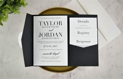 Real DIY Wedding Invitation: Classic Black & White Pocket
