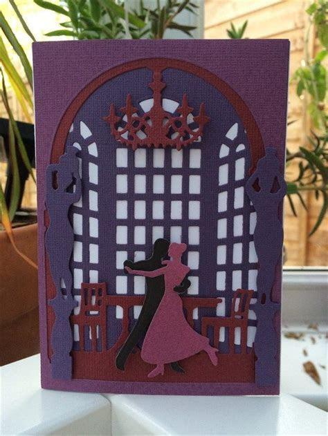 Die cut Ballroom card made using Xcut Shadow Box Die Set