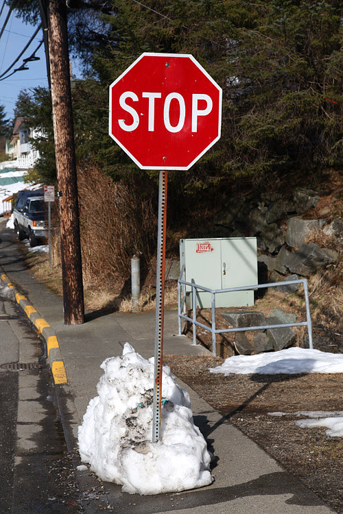 stop sign with snow, Ketchikan, Alaska