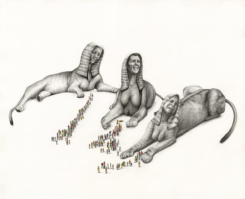 Three Sphinx absorb the grief of the people by kirsty.whiten