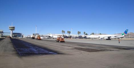Previous runway upgrade work to runway 08/26 Windhoek