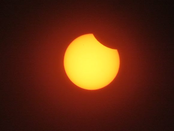 A 6% partial solar eclipse as seen from Israel. Credit and copyright: Gadi Eidelheit.