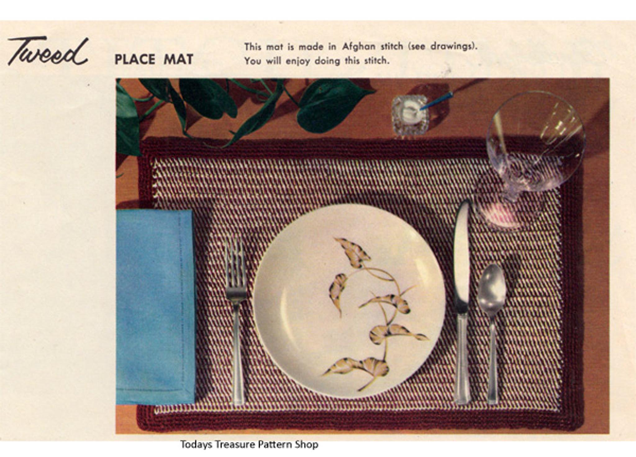 Beginners Crochet Placemat Pattern, Brown Tweed