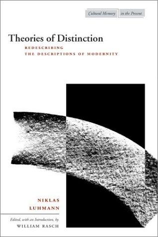 Theories of Distinction: Redescribing the Descriptions of Modernity Niklas Luhmann Stanford University Press