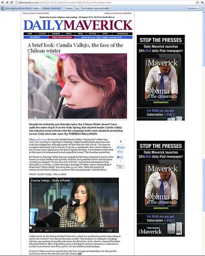 Fotografía mía en el DailyMaverick by Manuel Venegas