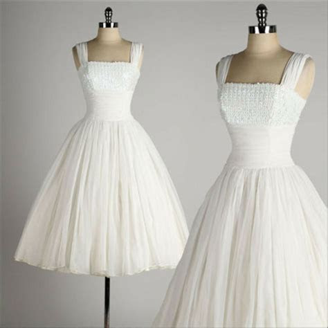 Vintage 1950 Style Wedding Dresses Ball Gown Tea Length