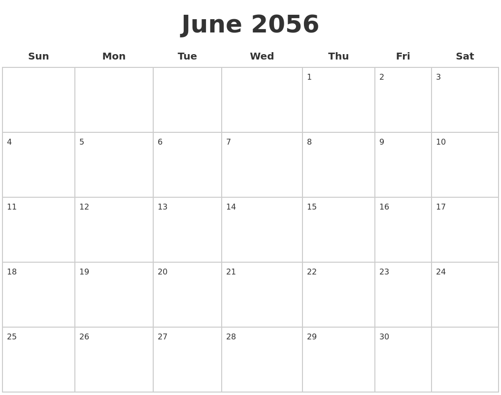 june 2056 blank calendar pages